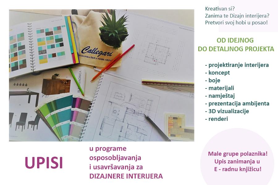 UPISI u program Dizajner interijera