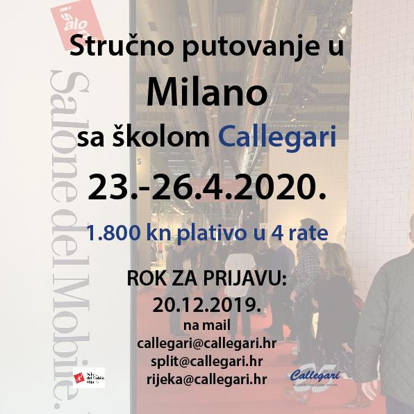STRUČNO PUTOVANJE U MILANO NA SALONE DEL MOBILE 2020